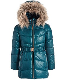 Big Girls Belted Puffer Jacket With Removable Faux-Fur-Trimmed Hood