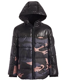 Michael Kors Big Boys Camo-Print Hooded Puffer Jacket