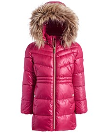 Toddler Girls Stadium Puffer Jacket With Removable Faux-Fur-Trimmed Hood