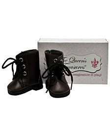"18"" Doll Clothes Accessory, Brown Lace Up Vintage Style Boots Plus Shoe Box"