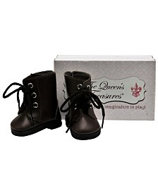 "The Queen's Treasures 18"" Doll Clothes Accessory, Brown Lace Up Vintage Style Boots Plus Shoe Box"