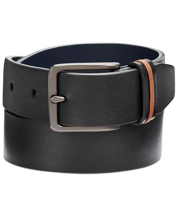 Original Penguin Men's Cut-Edge Leather Belt