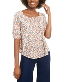 Self Esteem Juniors' Floral Off the Shoulder Peasant Top
