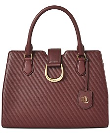 Lauren Ralph Lauren Quilted Caviar City Leather Satchel