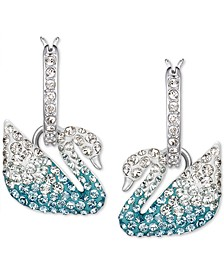 Silver-Tone Crystal Swan Dangle Hoop Earrings