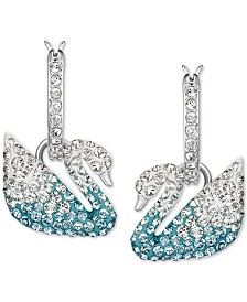 Swarovski Silver-Tone Crystal Swan Dangle Hoop Earrings