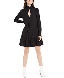 Ruffle-Trim Pleated Dress