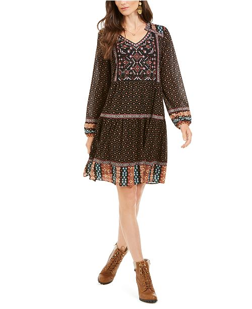 Style & Co Printed Mesh Peasant Dress, Created for Macy's