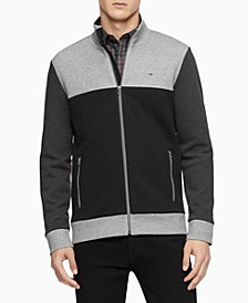 Men's Regular-Fit Colorblocked Textured Jacquard Full-Zip Sweater