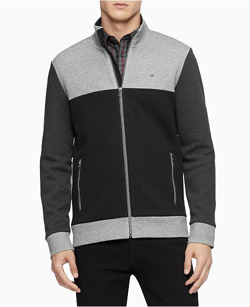Calvin Klein Men's Regular-Fit Colorblocked Textured Jacquard Full-Zip Sweater