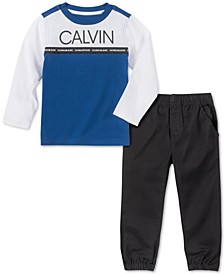 Little Boys 2-Pc. Colorblocked Logo T-Shirt & Twill Jogger Pants Set