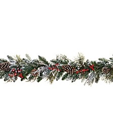 6-Foot Long Snowy Garlands with Pine Cones and Berries - Set of 2