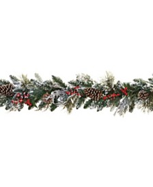 Sterling 6-Foot Long Snowy Garlands with Pine Cones and Berries - Set of 2