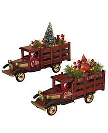 Lighted, Wooden Antique Trucks Hauling  Christmas Tree and Cardinal Figurine - Set of 2