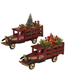 Sterling Lighted, Wooden Antique Trucks Hauling  Christmas Tree and Cardinal Figurine - Set of 2