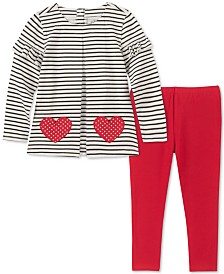 Kids Headquarters Little Girls Striped Tunic & Leggings Set