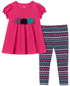 Toddler Girls 2-Pc. Crochet Trim Tunic & Printed Leggings Set