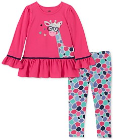 Kids Headquarters Little Girls Giraffe Tunic & Printed Leggings Set