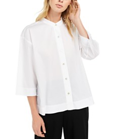 Eileen Fisher Mandarin-Collar Button-Down Top, Regular & Petite
