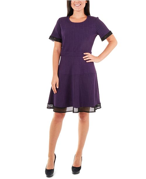 NY Collection Mesh-Trim Fit & Flare Dress