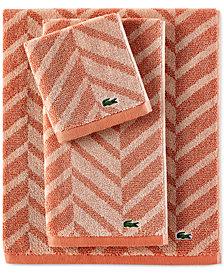 Lacoste Herringbone Cotton Bath Towel Collection