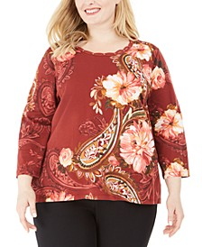 Plus Size Cedar Canyon Floral-Print 3/4-Sleeve Top