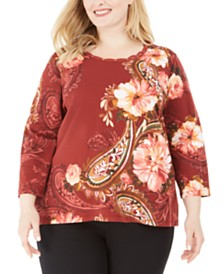 Alfred Dunner Plus Size Cedar Canyon Floral-Print 3/4-Sleeve Top