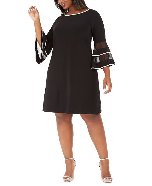 MSK Plus Size Illusion Bell-Sleeve Dress