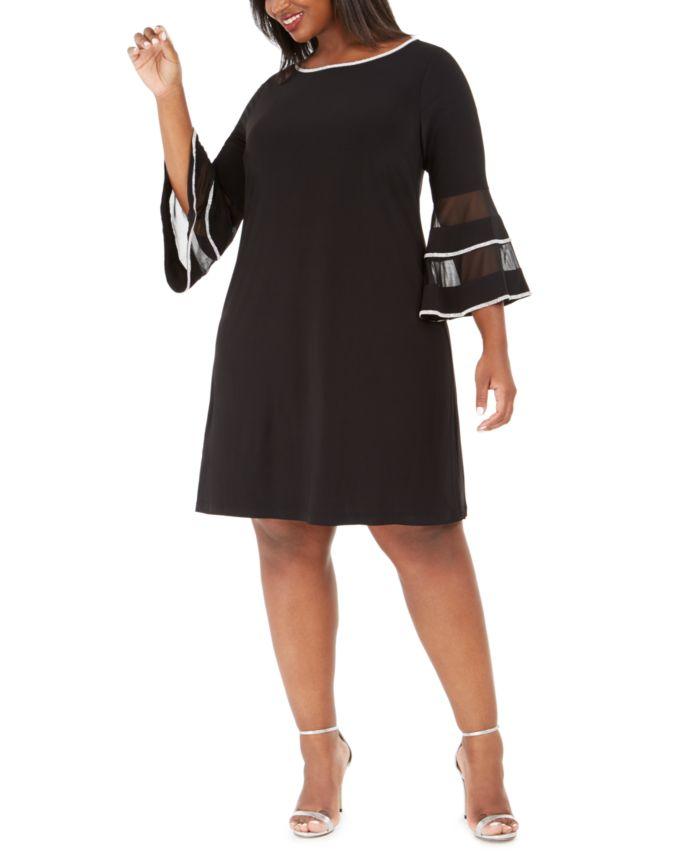 MSK Plus Size Illusion Bell-Sleeve Dress & Reviews - Dresses - Plus Sizes - Macy's