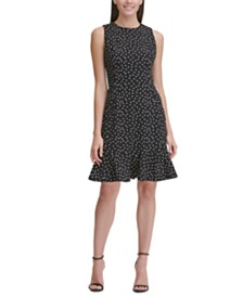Tommy Hilfiger Sleeveless Dot Flounce Dress