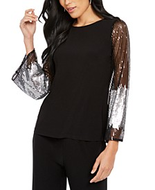 Sequined-Sleeve Statement Top