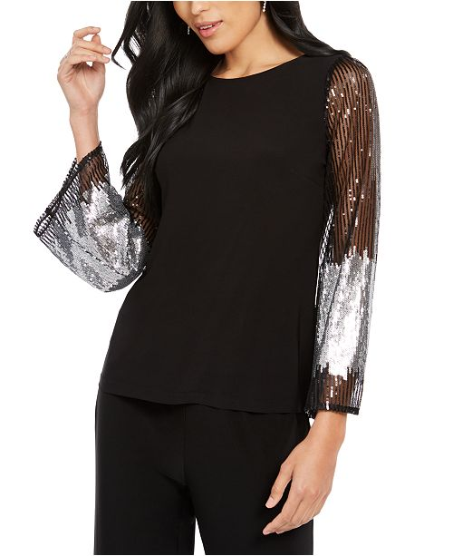MSK Sequined-Sleeve Statement Top