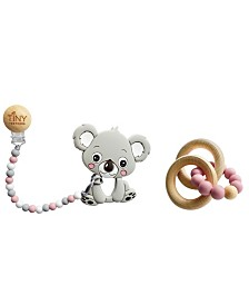 Tiny Teethers Infant Silicone and Beech Rattle and Teether Gift Set, Koala