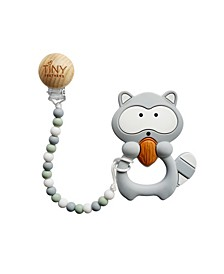 3 Stories Trading Tiny Teethers Infant Silicone Pacifier Clip With Large Removable Teether, Raccoon