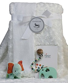 Infant Blanket Gift Set With Pacifier Clip, Teether And Toy