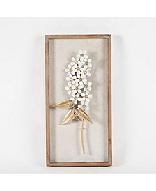 2 piece White and Gold Flower Bouquet Wall Plaque