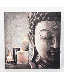 Zen Buddha and Candles Print with LED Lights