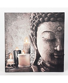 Luxen Home Zen Buddha and Candles Print with LED Lights
