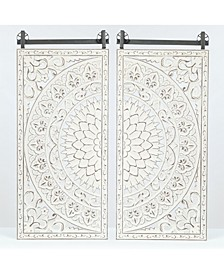 Set of 2 Decorative Carved Floral-Patterned MDF Wall Panel