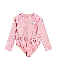 Roxy Toddler Girl Splash Party Long Sleeve One-Piece Rashguard