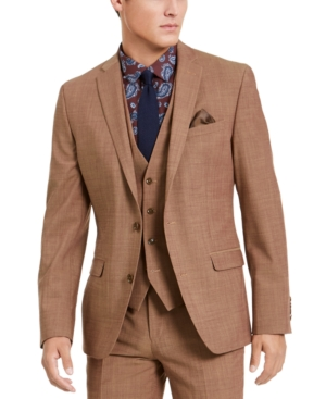 Men's Vintage Style Suits, Classic Suits Bar Iii Mens Slim-Fit Active Stretch Performance Gold Suit Separate Jacket Created for Macys $169.99 AT vintagedancer.com