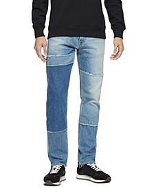 Men's Patchwork Stretch-Cotton Jeans