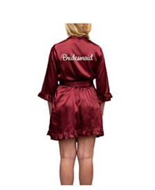 Wedding Prep Gals 'Bridesmaid' Embroidered Ruffle Robe, Online Only