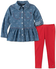 Little Girls Denim Shirt & Leggings Set