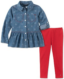Tommy Hilfiger Little Girls Denim Shirt & Leggings Set