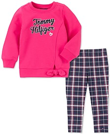 Tommy Hilfiger Toddler Girls Tie-Front Sweatshirt & Printed Leggings Set