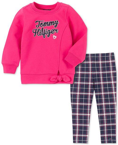 Tommy Hilfiger Toddler Girls Tie-Front Sweatshirt & Printed Leggings Set
