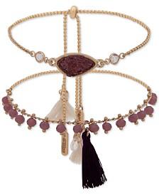 lonna & lilly Gold-Tone 2-Pc. Set Crystal, Stone, Bead & Tassel Slider Bracelets
