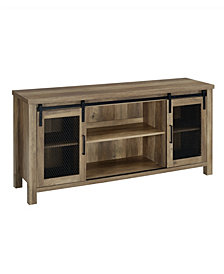 Walker Edison Industrial TV Stand with Sliding Mesh Door