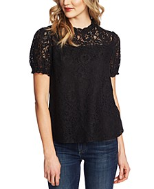 Puffed-Sleeve Lace Top